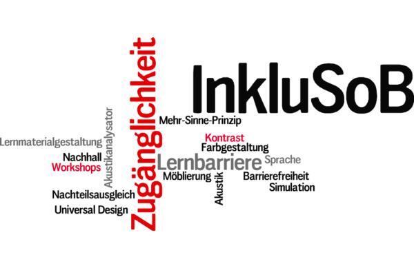 Die Graphik zeigt eine Wortwolke. Die farbigen Worte beschreiben die Angebote von InkluSoB näher. InkluSoB, Zugänglichkeit, Mehr-Sinne-Prinzip, Kontrast, Farbgestaltung, Lernbarriere, Sprache, Barrierefreiheit, Simulation, Akustik, Möblierung, Nachteilsausgleich, Universal Design, Akustikanalysator, Nachhall, Workshops, Lernmaterialgestaltung.