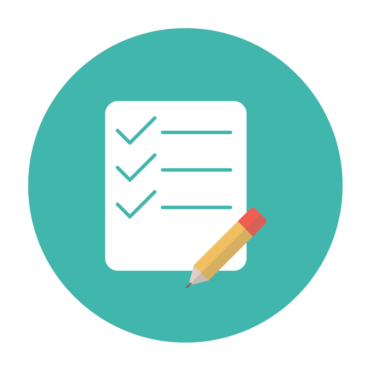 Die Graphik soll barrierefreie Dokumente symbolisieren. Dargestellt ist ein Arbeitsblatt (Checkliste) mit Bleistift.