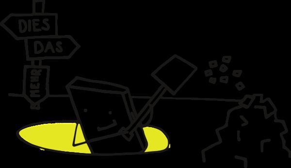 Das Pixelchen, ein Viereck mit Gesicht und Gliedmaßen, steht hüfthoch in einem Loch. Rechts von ihm befindet sich ein Haufen, auf das es mit der Schaufel gerade eine weitere Ladung wirft. Links befindet sich ein Schild auf dem Pfeile mit den Worten Dies (Pfeil zeigt nach links), Das (Pfeil zeigt nach Rechts) und Mehr (Pfeil zeig nach unten) sind.