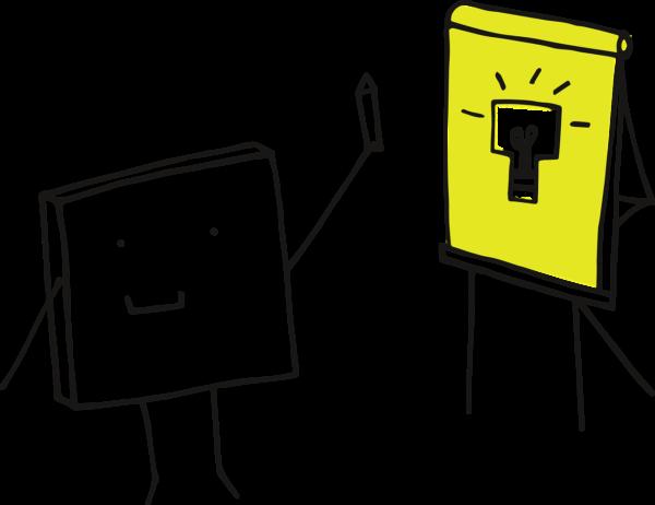 Das Pixelchen steht vor einer Moderationswand. Auf der Moderationswand ist eine Glühbirne, die einen guten Gedanken bzw. eine gute Idee symbolisieren soll, dargestellt.